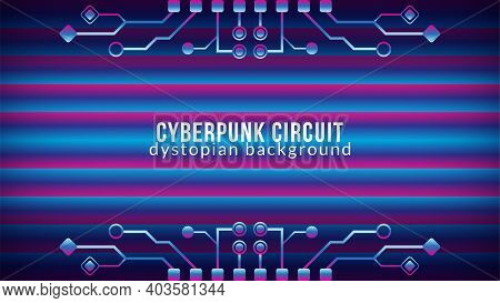 Cyberpunk Circuit With Gradient Bar Pattern. Dystopian Electronic Tree Shape Vector Illustration. Ab