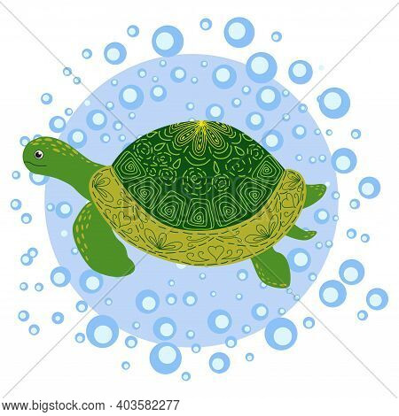 Green Scandinavian Style Turtle With Painted Shell Pattern Hand Drawn, Among The Water Bulbs