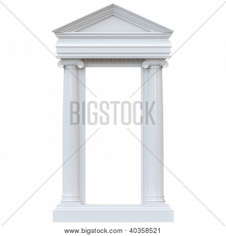 Marble columns isolated on white background