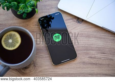 Alanya, Turkey - December 6, 2020: Iphone 11 Pro Max Gold With Cloud Audio Streaming And Music Servi