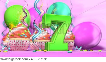 Birthday Cupcake With Sparking Candle With The Number 7 Large In Green With Cupcakes With Red Cream