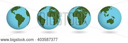 Set Of Earth Planet. Vector Atlas Countries On Sphere. America Continent On 3d Globe Map Isolated On