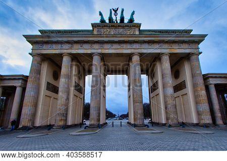 Berlin, Germany - January 13, 2020 - Berlin's Most Famous Landmark - The Brandenburg Gate
