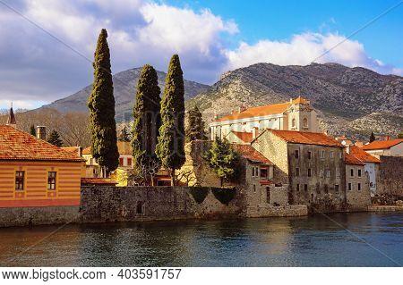 Ancient Town Of Trebinje On Bank Of Trebisnjica River In Winter.  Bosnia And Herzegovina, Republika