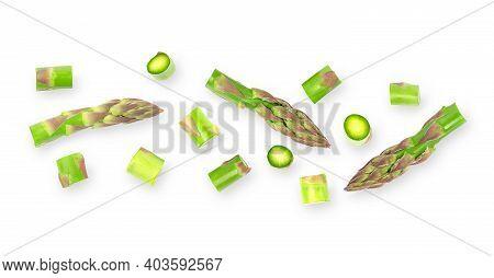 Horizontal Fresh Asparagus Vegetables Banner On White Background