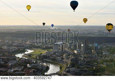 Vilnius, Lithuania - August 11 2016: Hot Air Balloons In Vilnius City Center On August 11, 2016 In V