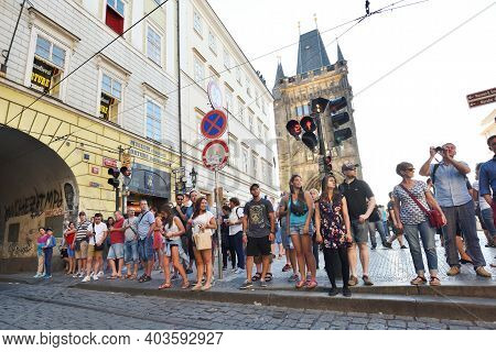 Prague - August 07, 2016: Unidentified People At Street Of Old Town On August 07, 2016 In Prague, Cz