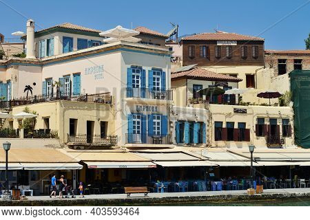 Chania, Greece - August 12: City Buildings At Harbor Of Chania, Greece On August 12, 2014. Chania Is