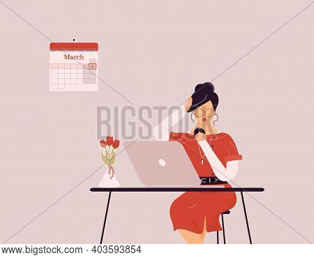 March 8 International Women's Day.cute Brunette Woman In Red Preening Work On Laptop.vase With Tulip
