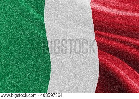 Italy Glitter Flag, National Flag, Glittering Flag, Competition Concept, Sparkle Background