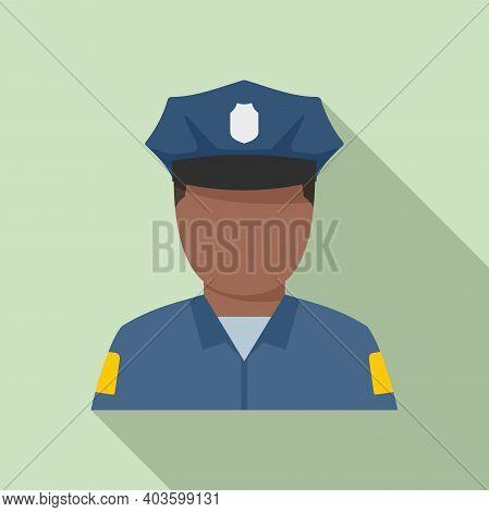 Afro American Policeman Icon. Flat Illustration Of Afro American Policeman Vector Icon For Web Desig