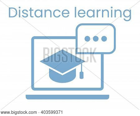 E-learning Concept. Distance Learning Icon. Online Training Courses. Home Leisure. Isolated Vector E