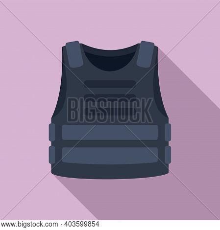 Policeman Bulletproof Icon. Flat Illustration Of Policeman Bulletproof Vector Icon For Web Design