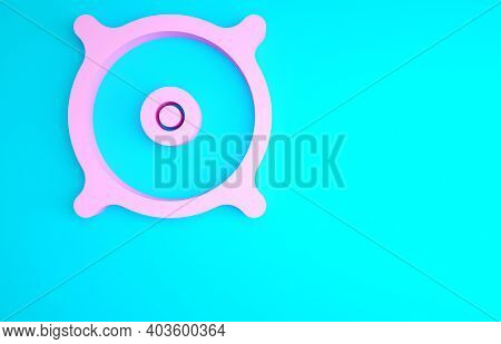 Pink Car Audio Speaker Icon Isolated On Blue Background. Minimalism Concept. 3d Illustration 3d Rend