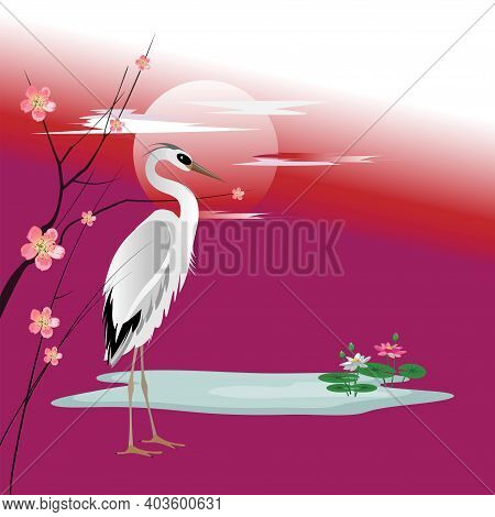 Vector Drawing Of A Heron Next To Branches Of A Blossoming Peach Tree And Lotuses In A Pond On Backg