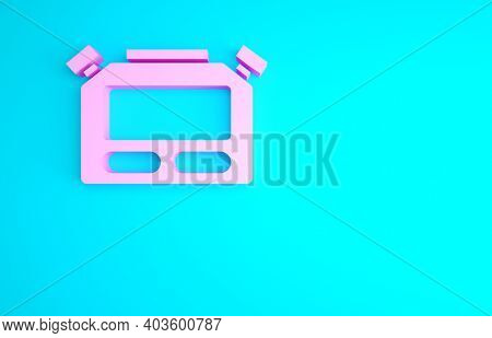 Pink Stopwatch Icon Isolated On Blue Background. Time Timer Sign. Chronometer Sign. Minimalism Conce