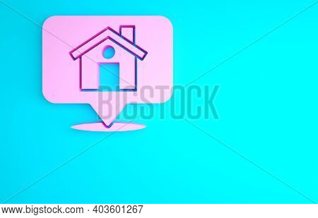 Pink Map Pointer With House Icon Isolated On Blue Background. Home Location Marker Symbol. Minimalis