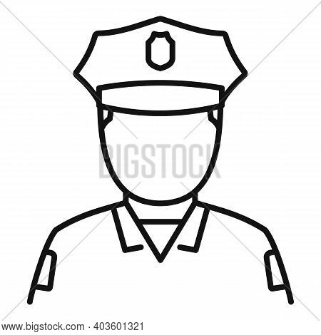 Afro American Policeman Icon. Outline Afro American Policeman Vector Icon For Web Design Isolated On