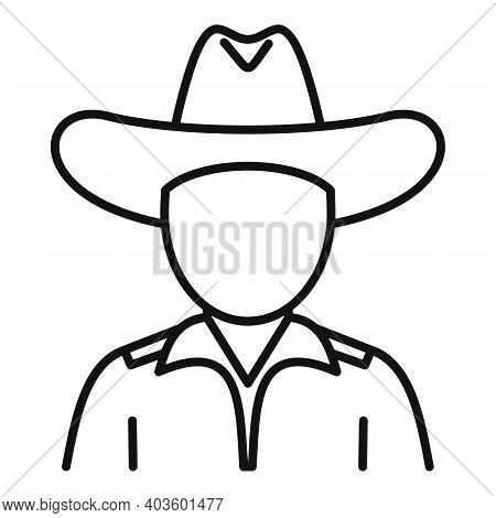 Cowboy Icon. Outline Cowboy Vector Icon For Web Design Isolated On White Background