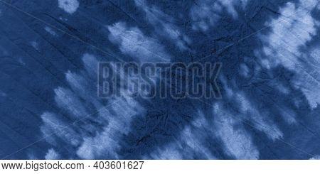 Indigo Shibori Tie Dye. Sky Abstract Ethnic Background. Nautical Hand Drawn Surface. Nautical Ethnic