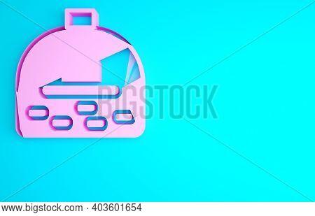 Pink Brick Stove Icon Isolated On Blue Background. Brick Fireplace, Masonry Stove, Stone Oven Icon.m