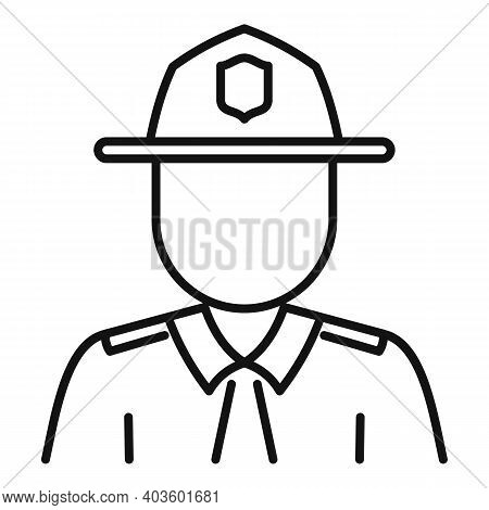 Policeman Village Icon. Outline Policeman Village Vector Icon For Web Design Isolated On White Backg