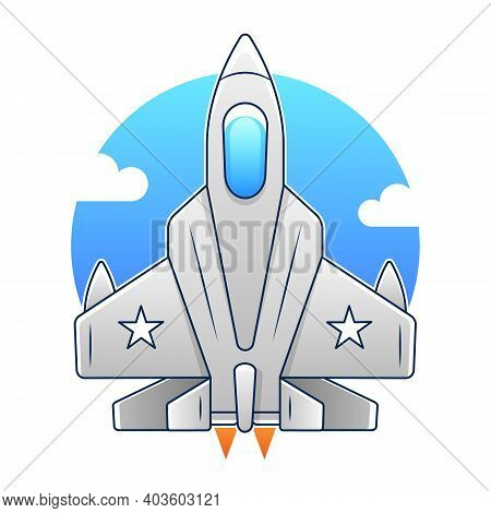 Vector Cartoon Fighter Plane. Twin-engine, Variable-sweep Wing Multirole Combat Aircraft. Available