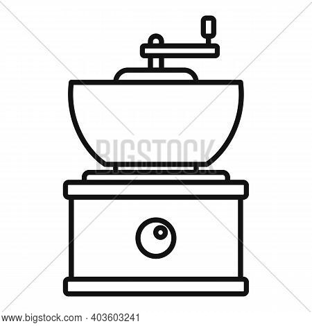 Old Coffee Grinder Icon. Outline Old Coffee Grinder Vector Icon For Web Design Isolated On White Bac
