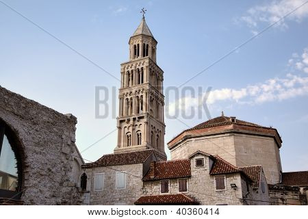 Bell tower of St. Duje cathedral. Split, Croatia poster