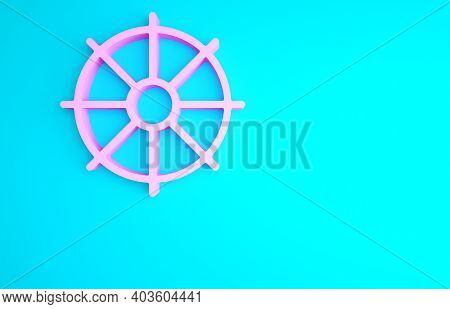 Pink Dharma Wheel Icon Isolated On Blue Background. Buddhism Religion Sign. Dharmachakra Symbol. Min