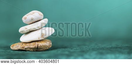 Balance, Life Coaching, Self Realization Stones On Blue Background. Web Banner With Copy Space.