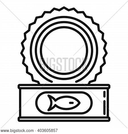 Open Fish Tin Can Icon. Outline Open Fish Tin Can Vector Icon For Web Design Isolated On White Backg