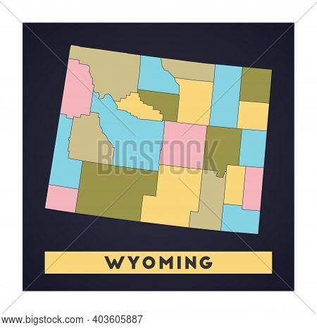 Wyoming Map. Us State Poster With Regions. Shape Of Wyoming With Us State Name. Awesome Vector Illus