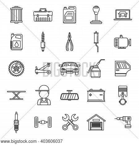Auto Mechanic Labor Icons Set. Outline Set Of Auto Mechanic Labor Vector Icons For Web Design Isolat