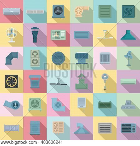 Ventilation Icons Set. Flat Set Of Ventilation Vector Icons For Web Design
