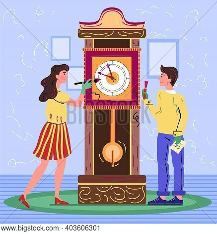 Male And Female Characters Are Restoring Old Clock. Artist Restores An Ancient Clock. Woman Carefull