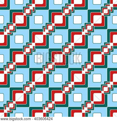 Seamless Geometric Print In Oriental Style. Abstract Interlacing Of Colored Squares On A Light Blue