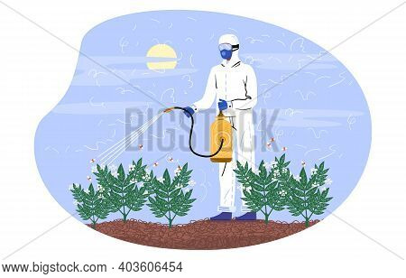 Character In Special Costume Spraying Pesticides. Farmer Spraying Pesticide Chemicals On Plants In G