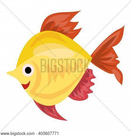 Aquarium Gold Fish Icon. Cartoon Of Aquarium Gold Fish Vector Icon For Web Design Isolated On White