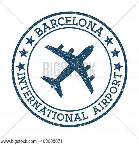 Barcelona International Airport Logo. Airport Stamp Vector Illustration. Barcelona Aerodrome.