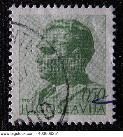 Istanbul, Turkey - January 02, 2021: Yugoslavia Stamp Shows Marshal Tito Circa 1967