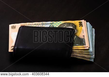 Man Wallet With Money On The Table, Wallet With Money Lei Close Up