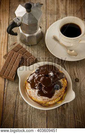 pancake with chocolate sugar and fruit