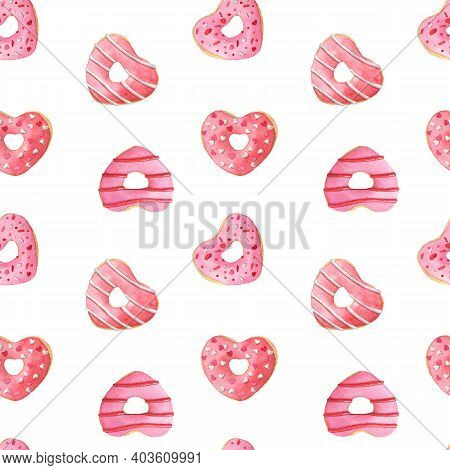 Heart Shaped Donuts With White Glaze. Hand-drawn Watercolor Seamless Pattern