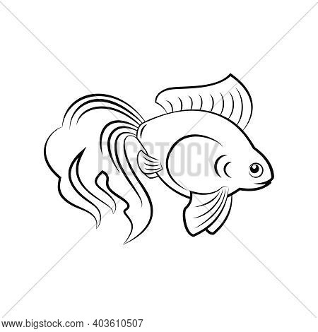 Icon Of Goldfish Silhouette On White Background Flat Vector Illustration