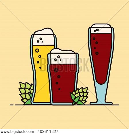 Beer Restaurant Icon. Gift Card, Design For A Restaurant With A Glass Of Beer. Festive Poster. Craft