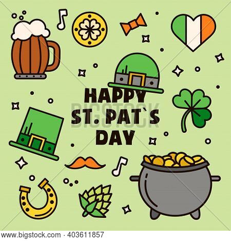 Saint Patrick's Day Sticker Pack. Gift Card, Design For Celebrities With Beer, Leprechaun Hats, Gold