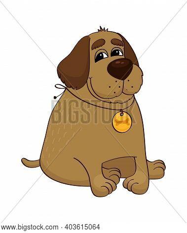 Funny Fat Dog Wearing Locket On White Background Cartoon Vector Illustration