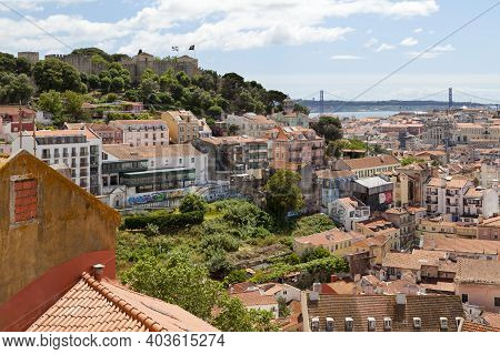 Lisbon, Portugal - June 01 2018: Aerial View From A Hilltop Of São Jorge Castle, The Ruins Of The Ca