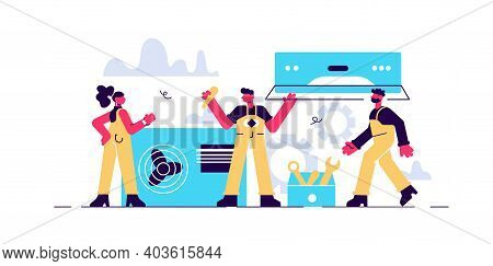 Air Conditioning Repair And Instalation Service Concept. Repairman Installing